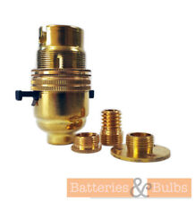 Brass Lamp Holder Kit B22 Switched with Wood Thread, Back Base Plate & Reducer
