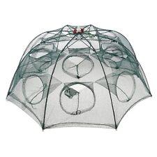 95x35cm 8 Sides 16 Holes Folded Fishing Bait Crab Net 6m Rope Folding Mesh Trap