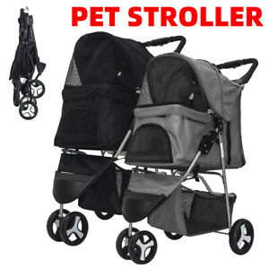 3 Wheels Pet Stroller dog cat animal Carrier Pram Travel Trolley Folding Cart