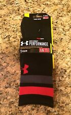 Under Armour UA Mens Crew Socks Performance HeatGear L Black Red (9-12.5) NWT