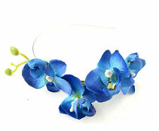 Electric Blue Orchid Flower Headband Fascinator Headpiece Floral Hair Races 972