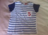 Baby Boys T-Shirt By H&M 12-18 Month Old In White With Blue Stripes And Sleeves