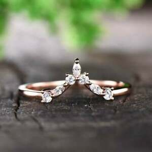 V Shaped Stackable Wedding Band 0.15 Ct Marquise & Round Cut 14K Rose Gold Over