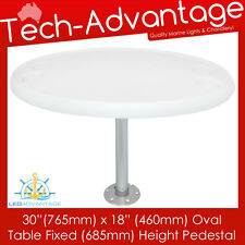 "BOAT CARAVAN WHITE REMOVABLE 30"" X 18""  OVAL TABLE FIXED HEIGHT PEDESTAL & BASE"