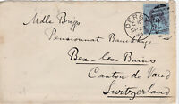 1893 QV DERBY COVER WITH A GOOD 2½d BLUE STAMP MAILED TO BEX SWITZERLAND