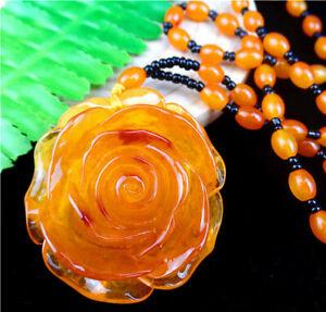 51x50x20mm Orange Jade Carved Flower Neckalce Chain Diameter:32cm AA1569,