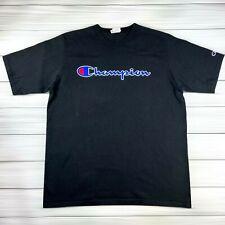 Vintage Champion T Shirt Men's 2XL XXL Black Short Sleeve Embroidered Spellout