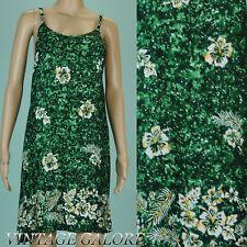 343e37ef144 VTG 80s 90s Grunge Dark Green floral Mini Hawaiian Breezy summer Beach dress  SzM