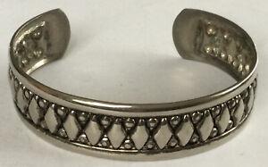 "Beautiful Rare Southwestern Silver Fashion Diamond Design Cuff Bracelet 7"" BW122"