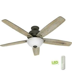 NEW!!  HUNTER Reveille 60 in. LED Indoor Noble Bronze Ceiling Fan with Light