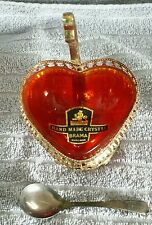 "HAND MADE CRYSTAL"" BRAMA"" ENGLAND RED HEART SERVING DISH W SPOON""SILVER PLATED"""