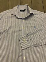 Polo Ralph Lauren Button Down Easy Care Shirt Men's 16.5 32/33 M Blue stripe