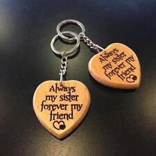 ALWAYS MY SISTER FOREVER MY FRIEND Engraved Wooden Keyring Gifts for Sisters Her