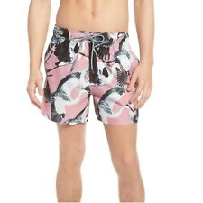 TED BAKER Men's Wingman Bird Print Swim Shorts Trunks Pink Craines Sz.3/Medium