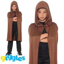 Brown Cape Hooded Boys Girls Unisex Monk Robe Halloween Fancy Dress Outfit
