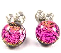 "Tiny DICHROIC Post EARRINGS 1/4"" 7mm PINK Magenta Fuchsia Fused GLASS Dots STUDS"
