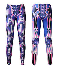 Cyber Metallic Iron Robotic Armour Plated Machine Spring Piston Premium Leggings