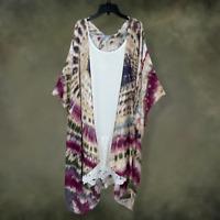 Plus Size Boho Hippie Gypsy Hippie Tie Dye Kimono Cardigan Duster Tunic One Size