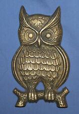 Vintage Hand Made Bronze Wall Decor Owl Plaque