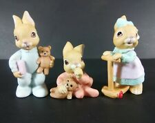 Homco Baby Bunny Rabbits Set, New Old Stock # 1466 Lot of 3 Figurines, Adorable