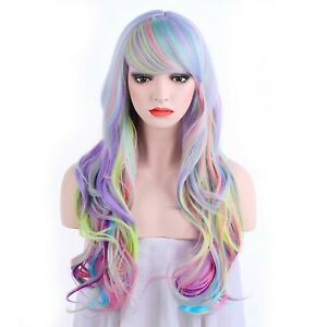 OneDor LongCurly Multi-Color Pastel Rainbow Hair Full Wigs-Charming Lolita