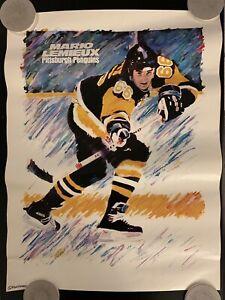 Vintage 1990s Mario Lemieux Pittsburgh Penguins Duostarr Poster NHL
