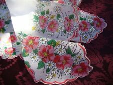 Two Vintage Pink Cotton Print Floral Lace Handkerchiefs Batiste Cambric Fabric