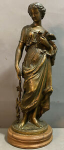 19thC Antique VICTORIAN Era BRONZED GREEK GODDESS Staff SNAKE Dove MANTEL STATUE