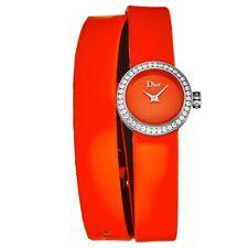 "Christian Dior CD040110A022 'la de Dior ""Naranja Dial Reloj De Diamante Set"