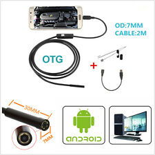 OTG 7mm USB Endoscope Inspection Camera 2m Waterproof 6LED Borescope For Android