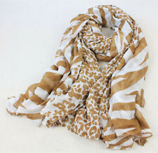 100% Pure Silk Women Sheer Scarf Oversize Wraps Animal Print Zebra White Brown