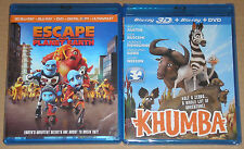 Kid Blu-ray 3D Blu-ray DVD Lot - Escape from Planet earth (Used) Khumba (New)