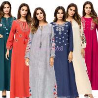 Ethnic Embroidery Abaya Muslim Women Kaftan Jilbab Islam Long Dress Hippie Robe