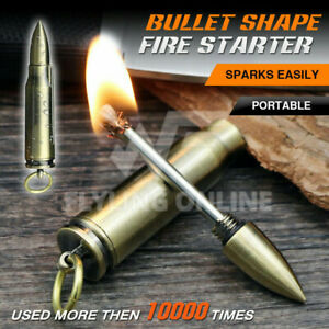 Waterproof Fire Starter Lighter Match Keychain Survival Camping Metal Bullet