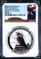 2020 Berlin Show Australia 30th Ann. Kookaburra Silver NGC MS 70 1oz $1 Coin ER
