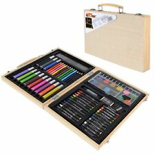 67 Pieces Childs Art Set in a Wooden Case Sturdy Box Pens Pencils Crayons Paints