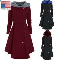 Plus Size Women Hooded Jacket Ladies Button Winter Casual Long Outerwear Coat US