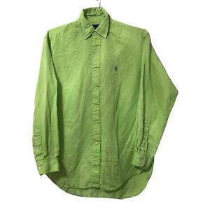 Ralph Lauren Polo Adult Medium M Button Up Silk Linen Green Mens Long Sleeve