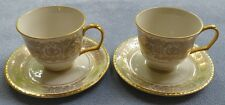 TWO Pickard Tiara Gold Cup and Saucer Sets