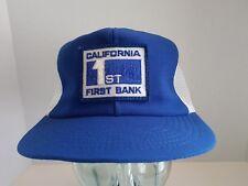 Vtg California First 1st Bank Logo Patch SnapBack Trucker Hat Cap Mesh Usa S M
