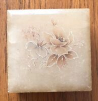 Vintage Alabaster Jewelry Trinket  Box Hand Carved Made In Italy