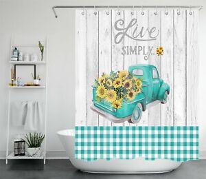 Rustic Planks Farmhouse Truck Sunflower Shower Curtain Set For Bathroom Decor