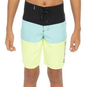 Hurley Kids' Boys' Youth Color Block Logo Boardshorts - Black/Aqua/Fluorescent