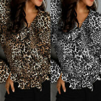 UK Women Work Shirt Leopard Blouse Office Ladies Long Sleeve Frill Top Plus Size