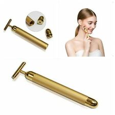 New 24k Gold Beauty Bar Facial Roller Face Vibration Skincare Massager Device