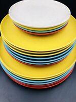 Vintage Holiday Kenro Speckled Melamine Melmac Dinner, Salad, Bread Plates 20 pc