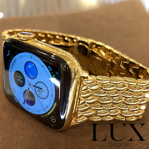 24K Gold Plated Apple Watch Series 6 w/ 24k Gold Link Band 44mm Read Description