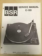 BSR Service & User Manual for the C-165 Turntable Record Changer