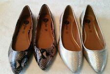 NEW 2 x Pairs Ladies Ballet Flat Slip on Gold / Black Brown Snakeskin Effect 5