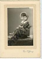 Vintage Photo in Folder-Very Cute Little Girl, Legs Crossed W/Bonnet-Fox-Tiffany